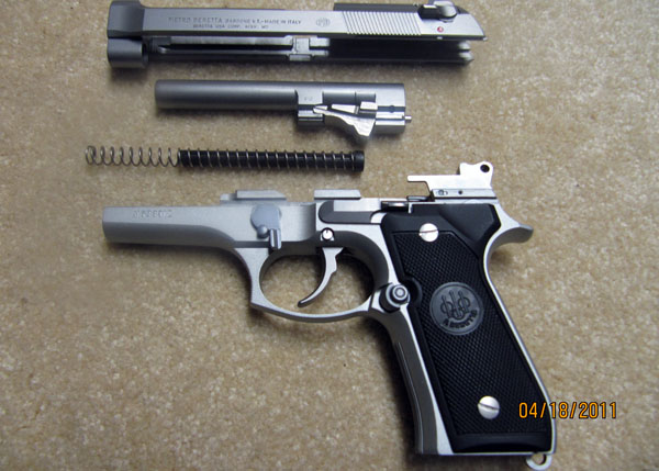 Beretta 92FS 9mm Disassembled