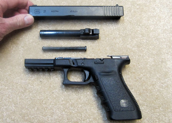 Glock 21SF Disassembled for Cleaning