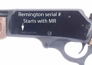 Remington serial number located on receiver left side